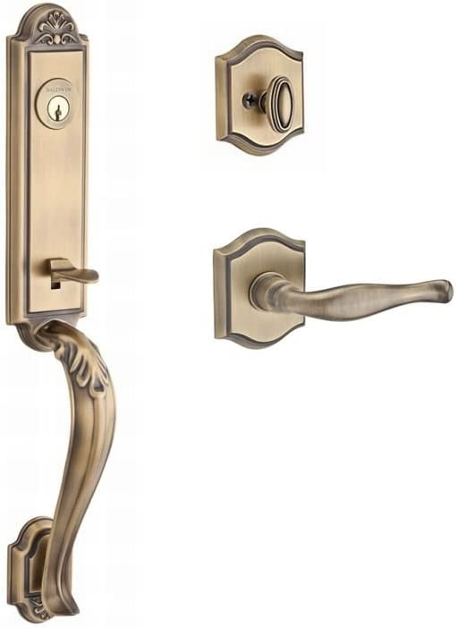 Baldwin SCDELXDECLTSR049 Reserve Single Cylinder Handleset Del Mar x Decorative with Traditional Square Rose in Matte Brass /& Black Finish Left Hand