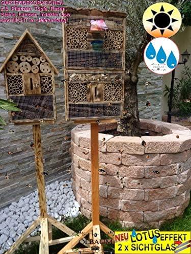 ÖLBAUM 2 x XXL Insektenhotel, mit Lotus+2xBrutröhrchen, Viereckig-Gross Rindendach + Haus, Bienenhaus mit 2X Standfuß UND TRÄNKE insektenhotel geflammt gebrannt schwarz, Natur-HOLZFARBEN