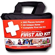 300 Piece First Aid Kit w/ Bag by M2 Basics + FREE First Aid Guide | 40 Unique Emergency Medical Supply Items | For Home, Office, Outdoors, Car, Camping, Travel, Survival, Workplace