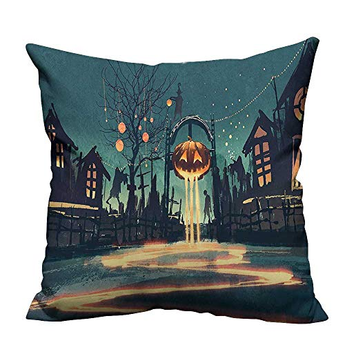 Household Pillowcase House Halloween Theme Night Pumpkin and Haunted House Ghost Town Artful Teal Perfect for Travel(Double-Sided Printing) 20x20 inch ()