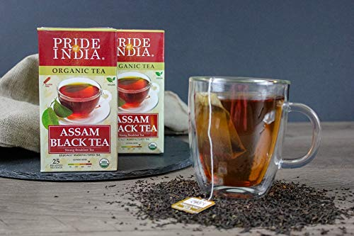Pride Of India Organic Indian Assam Black Tea, 25 Tea Bags