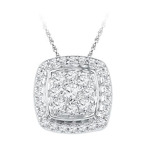 Gold Diamond Square Pendant - The Diamond Deal 10kt White Gold Womens Round Diamond Square Cluster Fashion Pendant 1/2 Cttw