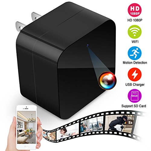 Spy Camera,Hidden Camera 1080P HD Mini USB Camera Home Security Camera Nanny Cam Surveillance Camera Best Spy Camera Wall Charger US Plug Wireless Hidden Spy Cam with WiFi Remote View,Motion Detection