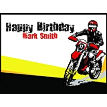 Personalized Motor Cross Dirt Bike Birthday Poster Custom Wall Decor for Birthday Banner Party Decoration - sizes 36x24, 48x24, 48x36