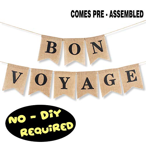 Bon Voyage Burlap Banner Bunting Farewell Adventure Awaits Goodbye Retirement Office Party Decorations Supplies - NO DIY REQUIRED ()