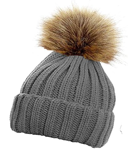 TOSKATOKWomens Winter Rib Knitted Hat / Beanie with Detachable Chunky Faux Fur Bobble Pom Pom - available in 5 colours