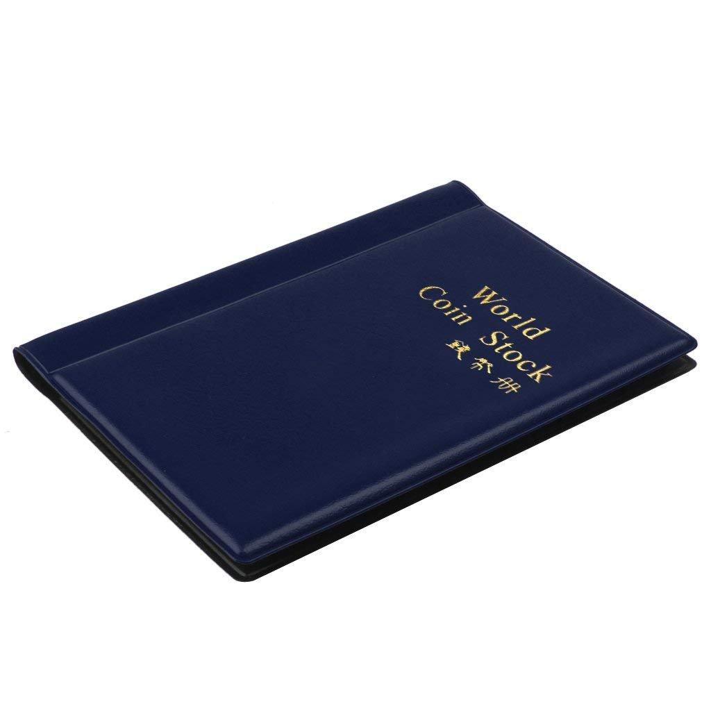 Ogquaton Coleccionistas de Monedas port/átiles 120 Portamonedas Almacenamiento de folletos Libro de Monedas Recopilaci/ón de /Álbumes para Monedas Gorras Fichas Medallones Insignias Azul