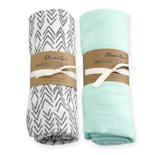 Oliver & Rain Baby Swaddle Sampler - 2-Pack Newborn 100% Organic Cotton Muslin Swaddle Blankets in Solid Light Teal and Arrow Print