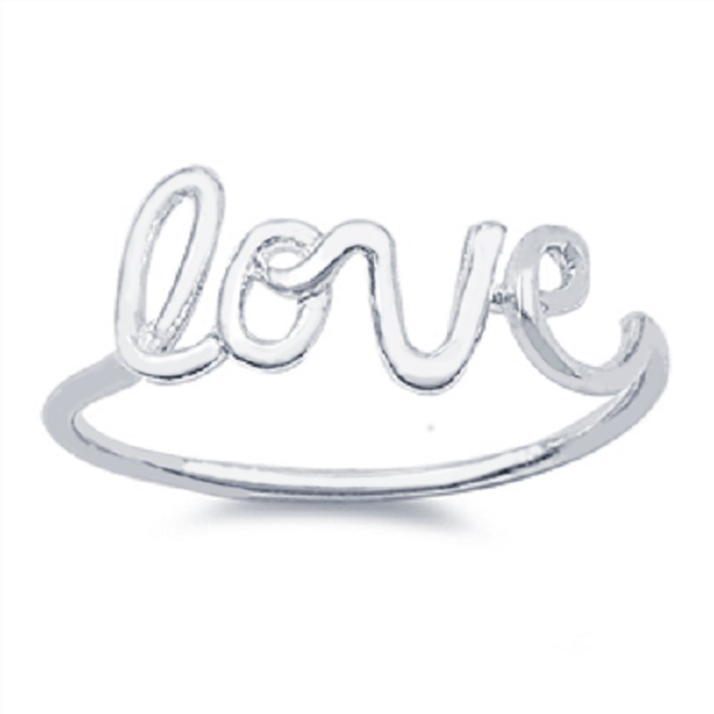 CloseoutWarehouse Sterling Silver Love in Script Wire Ring Size 14