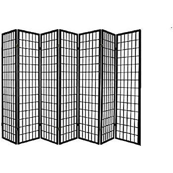 Panel Shoji Screen Room Divider 3 - 10 Panel (7 panel, Black, White, Cherry , Natural)