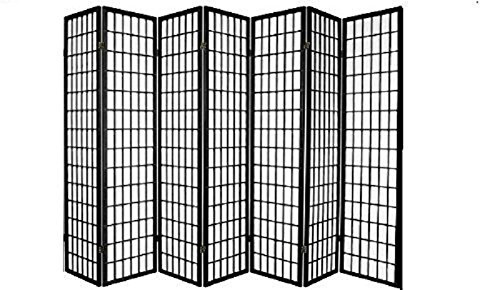 Panel Shoji Screen Room Divider 3 - 10 Panel (7 panel, Black, White, Cherry , Natural) (Divider Room Square Wood)