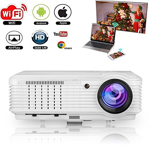 WiFi Projector Wireless, 3600 Lumen 1080p Full HD 3D Support, LCD LED Home Theater Projector Android for phone iPhone Laptop Blu-ray DVD Player PS3 PS4 XBox TV Box with HDMI - Box Zoom