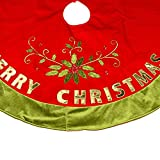 """Christmas Tree Skirt 48"""" for Christmas Decorations With Exquisite Box Packaging - Pretty Holiday Dress with 20"""" Length Omanments Christmas Stockings - Xmas Tree Decorations Red Skirt"""
