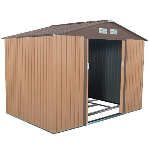 9' X 6' Garden Shed Craft Lawn Tools Bicycles Pool Supplies Storage House Patio Yard Backyard Décor 2 Sliding Door 2 Ventilation Window Durable Steel Frame Construction Corrosion Resistant by Auténtico