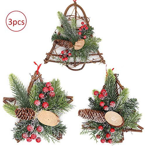 Aster 3 Pieces Christmas Grapevine Wreath Covered Snow, Natural Pine Cone Mistletoe with Red Berries Ornaments Xmas Garland for Home Party Decoration Holiday Winter Gift (Xmas Decorations Natural)