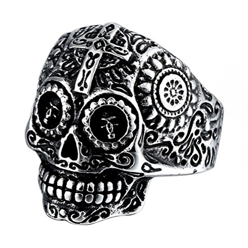 INRENG Stainless Steel Gothic Cross Sugar Skull Rings for Men Vintage Biker Band Flower Carved Halloween Jewelry Silver Size 11