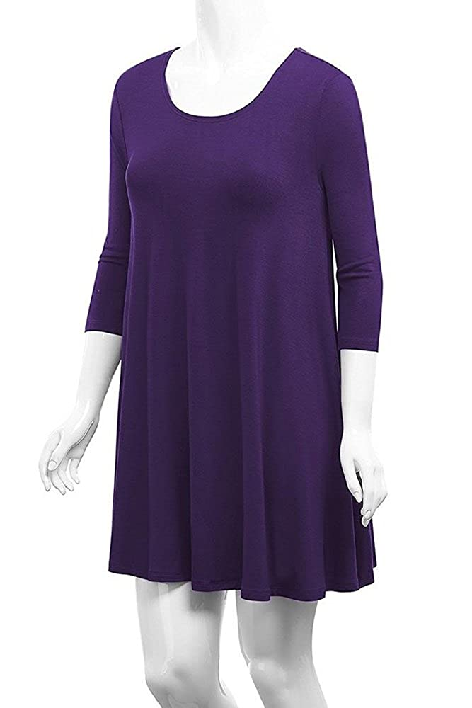 55e8cdd7bd12 Poetsky Womens Long Sleeve Solid Loose A-Line Tunic Dress at Amazon Women s  Clothing store