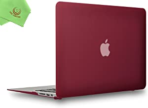 UESWILL Smooth Matte Hard Shell Case Cover for 2010-2017 Release MacBook Air 13 inch (Model A1466 / A1369) + Microfibre Cleaning Cloth, Wine Red