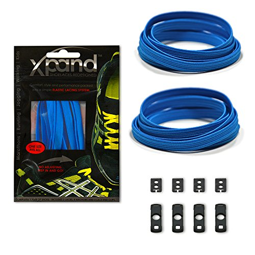 Xpand No Tie Shoelaces System with Elastic Laces - True Blue - One Size Fits All Adult and Kids Shoes
