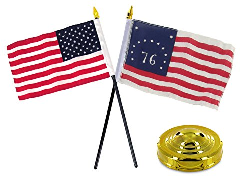 (ALBATROS Bennington 1776 with USA American Historical Flag 4 inch x 6 inch Desk Set with Gold Base for Home and Parades, Official Party, All Weather Indoors Outdoors)