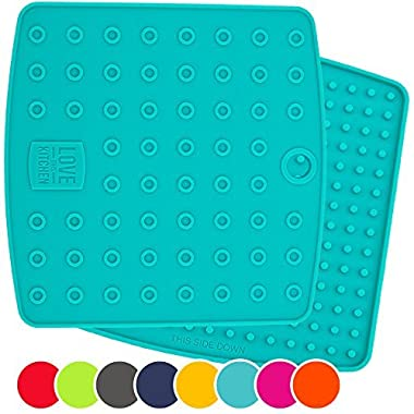 Set of (2) Premium, 5 in 1 Multipurpose Silicone Kitchen Tool: Trivet Mat, Pot Holders, Spoon Rest, Jar Opener, Coaster | Heat Resistant Hot Pads | Thick & Flexible | Great Gifts for Her (Teal)