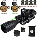 XOPin Rifle Scope Combo C4-16x50EG Dual Illuminated with Green Laser Sight 4 Holographic Reticle Red/Green Dot for Weaver/Rail Mount (Updated 4-16x50EG Green Laser)