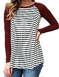 Halife Ladies Striped Long Raglan Sleeves Round Neck Tee Shirt Blouse Wine Red M