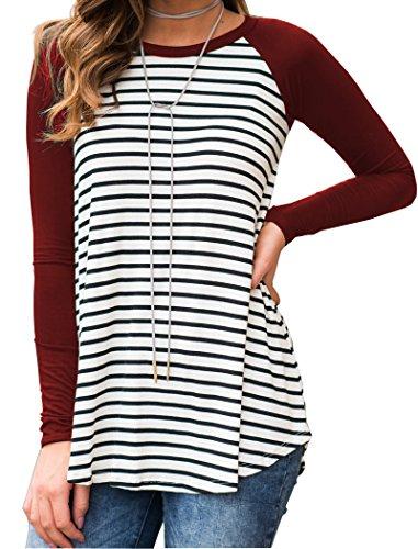 Halife Ladies Striped Long Raglan Sleeves Round Neck Tee Shirt Blouse,A-wine Red,Medium