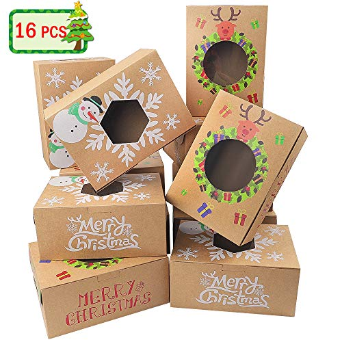 Moretoes 16pcs Christmas Cookie Gift Boxes Treat Boxes For Gift Giving, Pastry, Candy, Party Favors, Vintage Kraft Design with Clear Window (Christmas Desserts Kraft Easy)