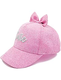 Dasmini Toddler Kids Girl Sparkle Glitter Bow Baseball Cap,Adjustable Sun Hat,Cute Bow Ponytail Cap for 1-8 Years (53CM) Rose Pink
