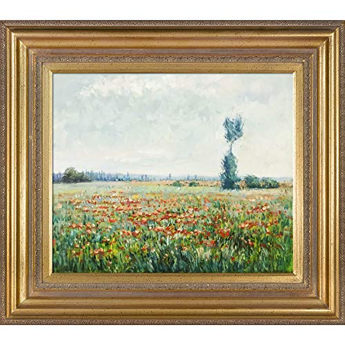 overstockArt Monet The Fields of Poppies Oil Painting with Mediterranean Gold Frame, Gold Finish