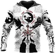 Men Fall Viking Zip Hoodies, 3D Print Fenrir Wolf Amulet Hooded Sweatshirts Ethnic Wear Pullover with Pocket