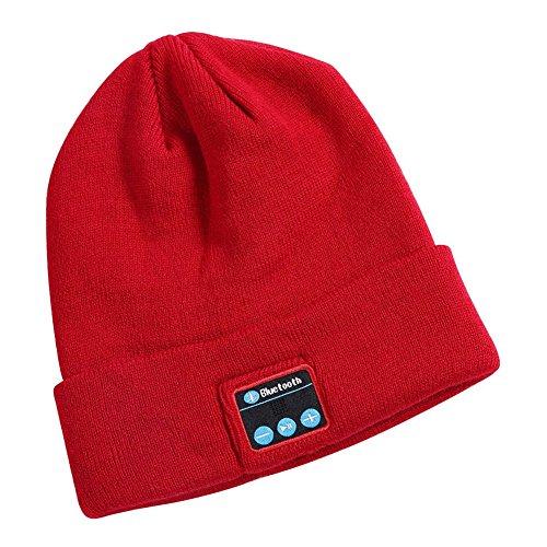 Bluetooth Beanie Hat, HD Stereo Winter Outdoor Sport Bluetooth 4.1 Wireless Smart Headset Knit Speaker Built-in Mic (Red) CHIRISEN