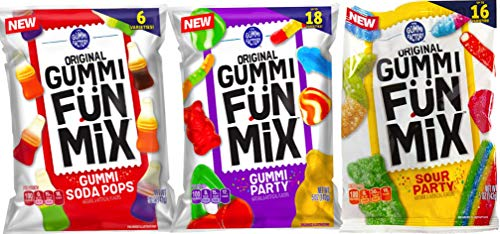 - NEW The Gummi Factory Original Gummy Fün Mix, Gummy Party/Sour Party/ & Gummi Soda Drops Net Wt 5oz (Sour/Gummi/SodaPops, 3)