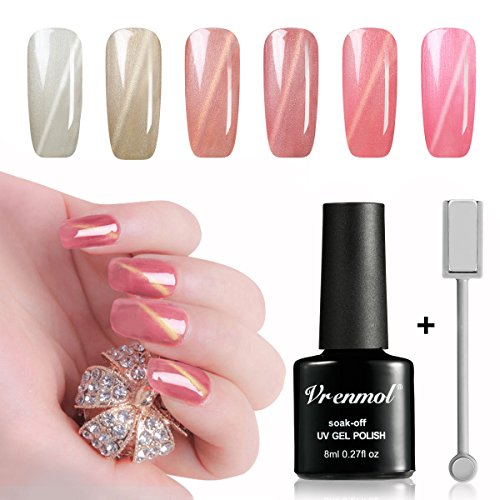 (Vrenmol 6pcs Cat Eye Nail Gel Polish Pink Shining Set Soak Off UV/LED Lacquer Manicure Nail Art Kit 8ml + Free Magnet Stick)
