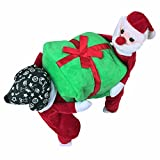 FEESHOW Pet Dog Cat Santa Claus Carrying Gift Christmas Funny Fancy Costume Jacket Apparel Clothes Red Green XX-Large