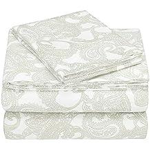 Pinzon 170 Gram Flannel Sheet Set - Twin, Sage Paisley