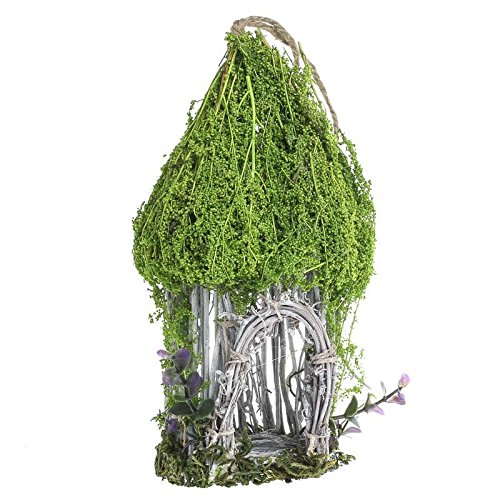 Whimsical Natural Twig Birdhouse Hut with Mossy Accents for Crafting, Creating and - Mossy Gnome