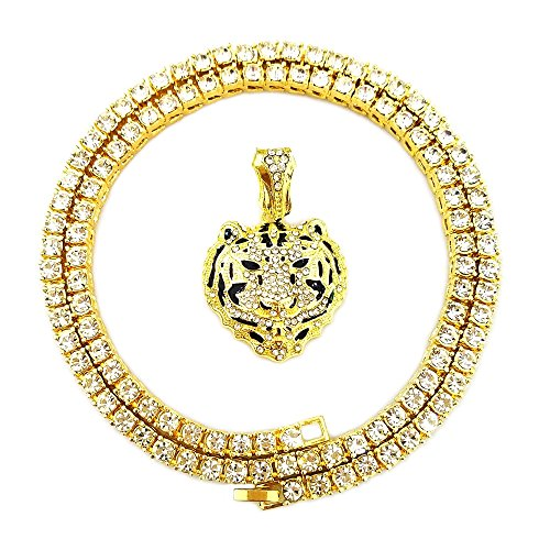 - HH Bling Empire Mens Iced Out Hip Hop Gold Artificial Diamond Ankh Cross cz Tennis Chain 22 Inch (Tennis Chain & Tiger Head)