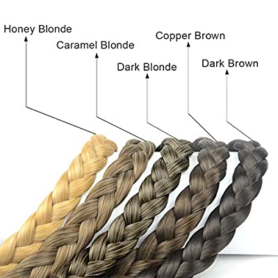 DIGUAN Synthetic Hair Braided Headband Classic Chunky Wide Plaited Braids Elastic Stretch Hairpiece Women Girl Beauty accessory, 55g aHairBeauty