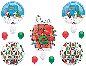 peanuts snoopy christmas party balloons decoration supplies charlie brown - Snoopy Christmas