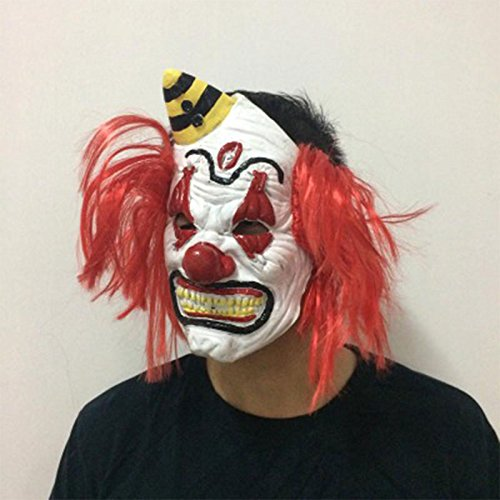 [Kicode Scary Latex Horror Clown Halloween Mask Red Hair Masquerade for Party Costumes Dress Headwear] (Scary Halloween Mask Images)