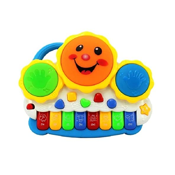 higadgetTM Drum Keyboard Musical Toy with Flashing Lights – Animal Sounds and Songs