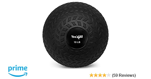 Yes4All Slam Ball Medicine Ball - Easy Grip Textured Surface and Ultra  Durable Rubber Shell - Weight Available 10, 15, 20, 25, 30, 40 lbs