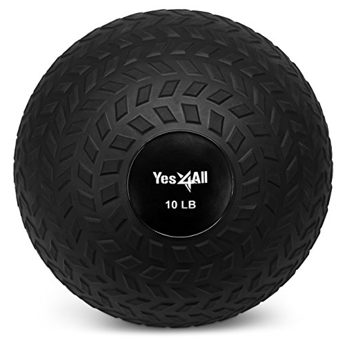 Yes4All 10 lbs Slam Ball for Strength and Crossfit Workout  Slam Medicine Ball (10 lbs, Black)