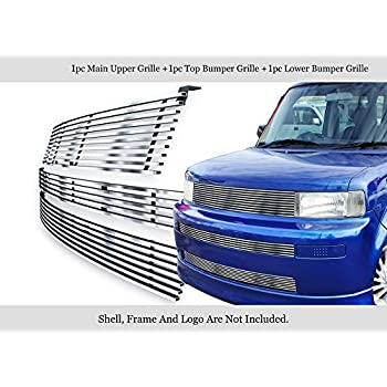 APS Compatible with 2007-2013 Chevy Silverado 1500 Stainless Steel Silver 8X6 Horizontal Billet Grille Insert Combo C61133C