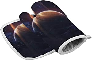 Tamengi Saturn Planet Ring Space Stars Lightning Oven Mitt and Pot Holder Set, Heat Resistant Oven Mitts Non Slip Pot Holders, Kitchen Microwave Gloves for Baking Cooking Grilling BBQ