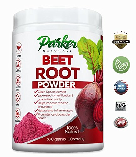 100% Natural Beet Root Powder | Superior Beet Juice by Parker Naturals. Big 300 Grams/30 Servings Natural Anti-inflammatory, Better Heart Health, Improved Athletic Endurance Supports Nitric Acid Level