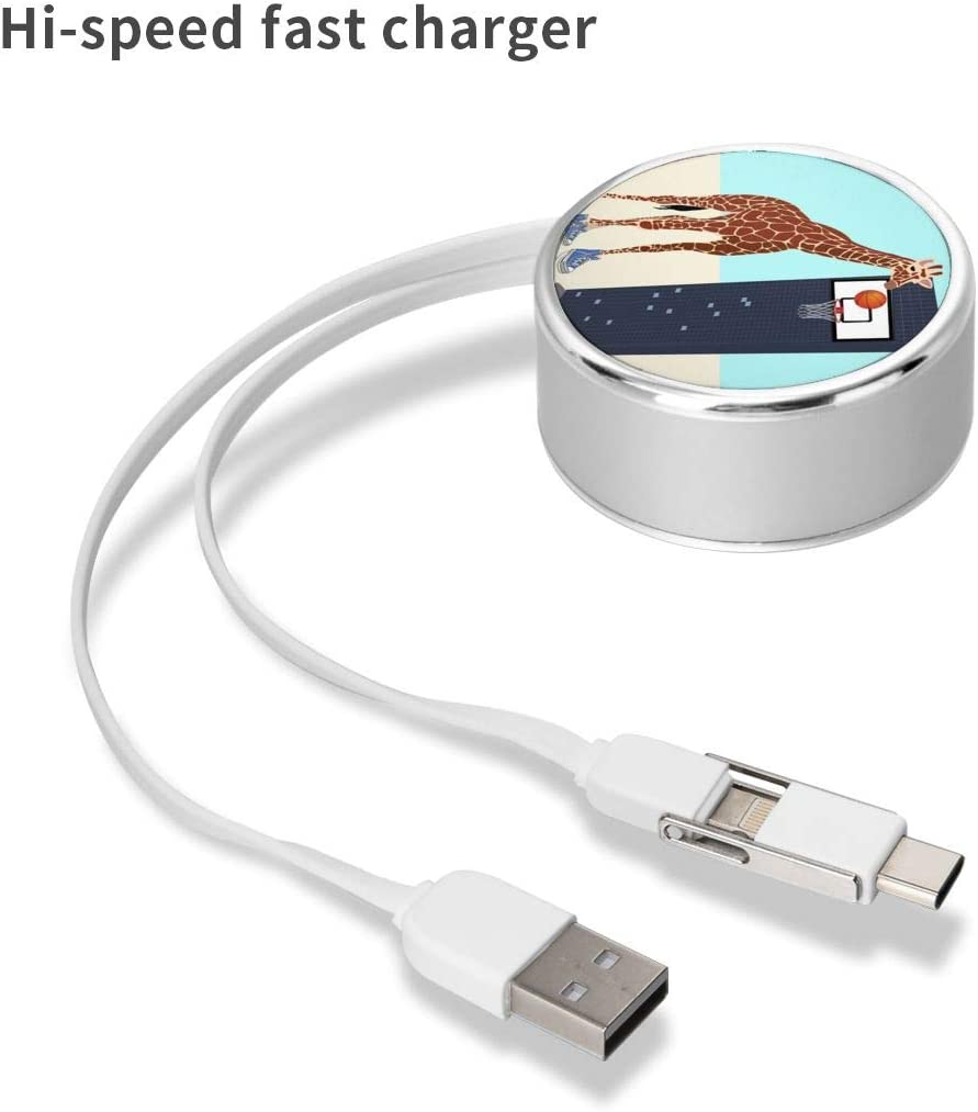 Multi Quick USB Charging Cable,New Basketball Player in The Neighborhood 2 in1 Fast Charger Cord Connector High Speed Durable Charging Cord Compatible with iPhone//Tablets//Samsung Galaxy//iPad and More