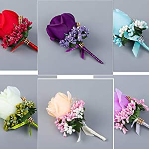 Men Corsage - Brooch Decoration Ivory Red Man Corsage Silk Rose Flower Wedding Suit - Purple Corsage Wedding Weddings Artificial Dried Flowers Wedding Frock Silk Corsages Boutonnieres Suit 112